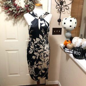 Stunning Silk David Meister  Floral Midi Dress